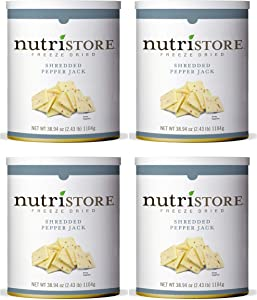 Nutristore Freeze-Dried Pepper Jack Cheese Shredded   Amazing Taste & Quality   Perfect for Snacking & Backpacking/Camping Meals   Emergency Survival Food Storage   25 Year Shelf-Life