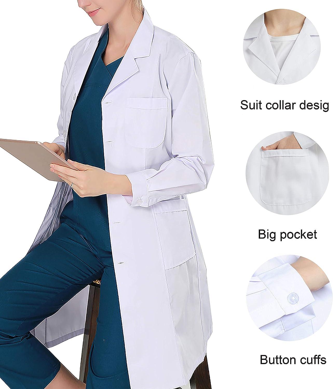 WWOO Camice da Laboratorio Donna Bianco Abbigliamento da Lavoro e Divise Camice Medico Donna Aggiornamento del Tessuto
