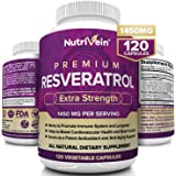 Nutrivein Resveratrol 1450mg - Antioxidant Supplement 120 Capsules – Supports Healthy Aging and Promotes Immune, Blood…