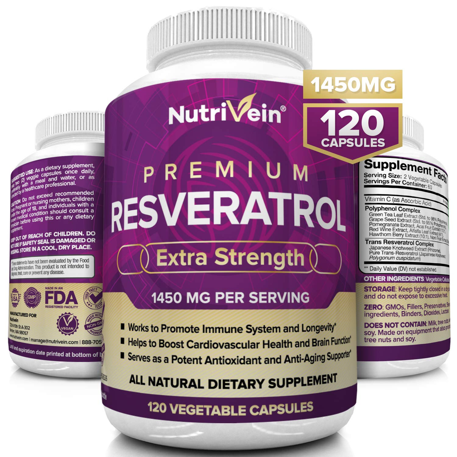 Nutrivein Resveratrol 1450mg - Antioxidant Supplement 120 Capsules – Supports Healthy Aging and Promotes Immune, Blood Sugar and Joint Support - Made with Trans-Resveratrol, Green Tea Leaf, Acai Berry