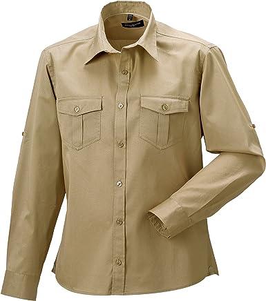 Russell Collection - Camisa de Manga Larga remangable para Trabajar Hombre Mujer - Trabajo/Fiesta/Verano: Amazon.es: Ropa y accesorios