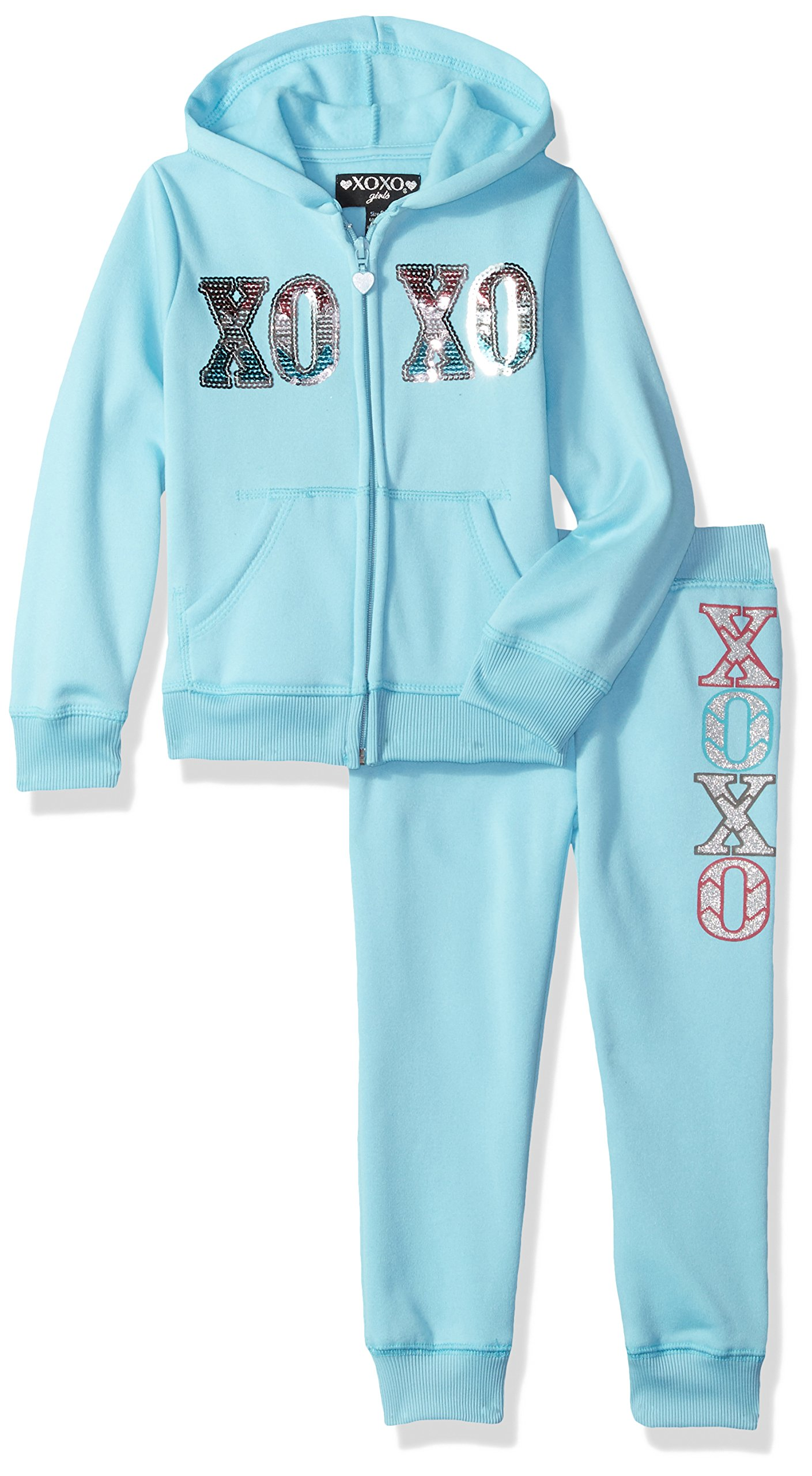 XOXO Little Girls' Hoodie and Jogger Set, Aqua Cone, 4
