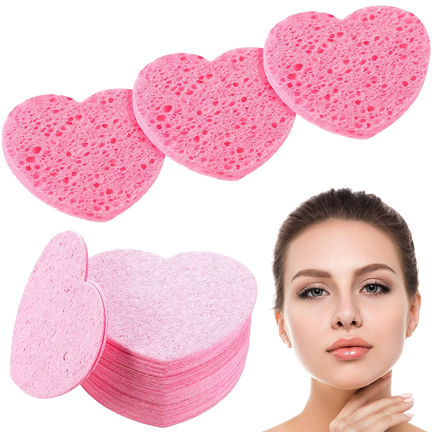 50 Pieces Heart Shape Facial Sponges Compressed Natural Cellulose Sponge Facial Scrub Sponge for Face Cleansing Exfoliating and Makeup Removal
