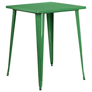 Flash Furniture 31.5'' Square Green Metal Indoor-Outdoor Bar Height Table