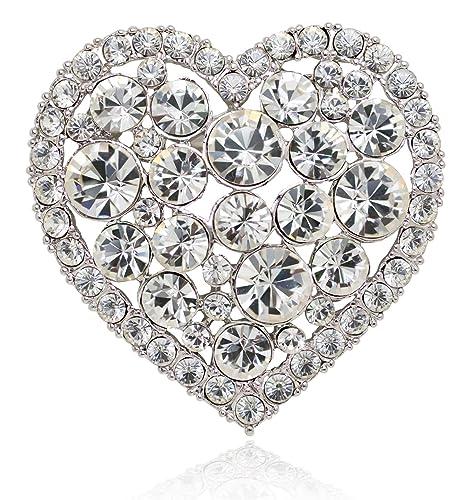 Akianna Swarovski Element Crystals Valentine Heart Pin Brooch