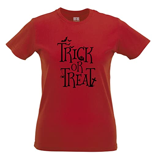 Tim and Ted Halloween T-Shirt da Donna Dolcetto o Scherzetto Stilizzato Slogan