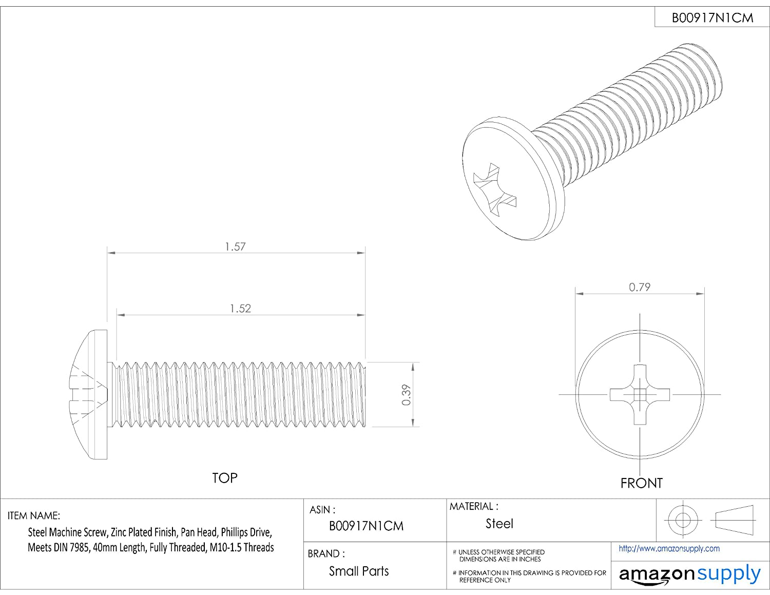 Steel Machine Screw Meets DIN 7985 M10-1.5 Metric Coarse Threads Zinc Plated Finish Fully Threaded 40mm Length Phillips Drive Pan Head