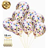 "Confetti Balloons 15 Pack Latex Round Colorful Paper Balloons - 12"" Multicolor Confetti Dots Filled Clear Balloons for New Year Party Birthday Wedding Decorations Holiday and Events Proposal"