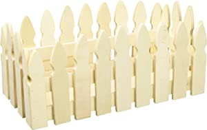 Darice Unfinished-4.3 x 9.36 inches Picket Fence Wood Container, Natural