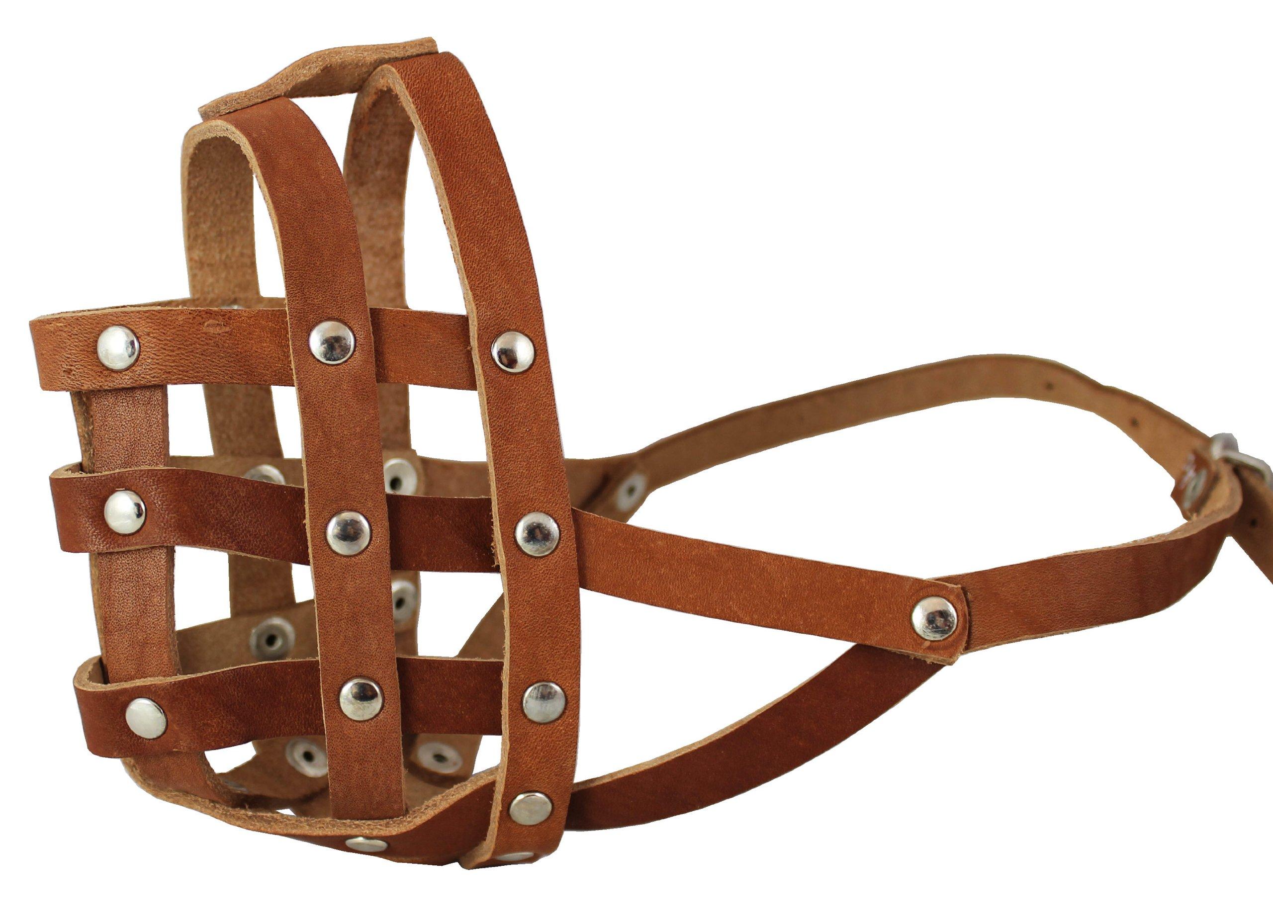 Real Leather Dog Basket Dog Dog Muzzle #110 Brown - Bulldog (Circumference 13.7'', Snout Length 2.75'')