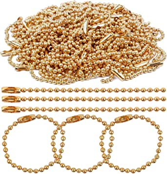 BronaGrand 100 Pieces 100mm Long Bead Connector Clasp Ball Chains Keychain Tag Key Rings Gold