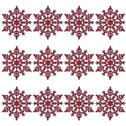 Foto Fiocchi Di Natale.Fiocchi Di Neve Per Natale Oulii Fiocchi Di Neve Per Decorazione Albero Di Natale Da Appendere Di 10 Cm 12pcs Rosso