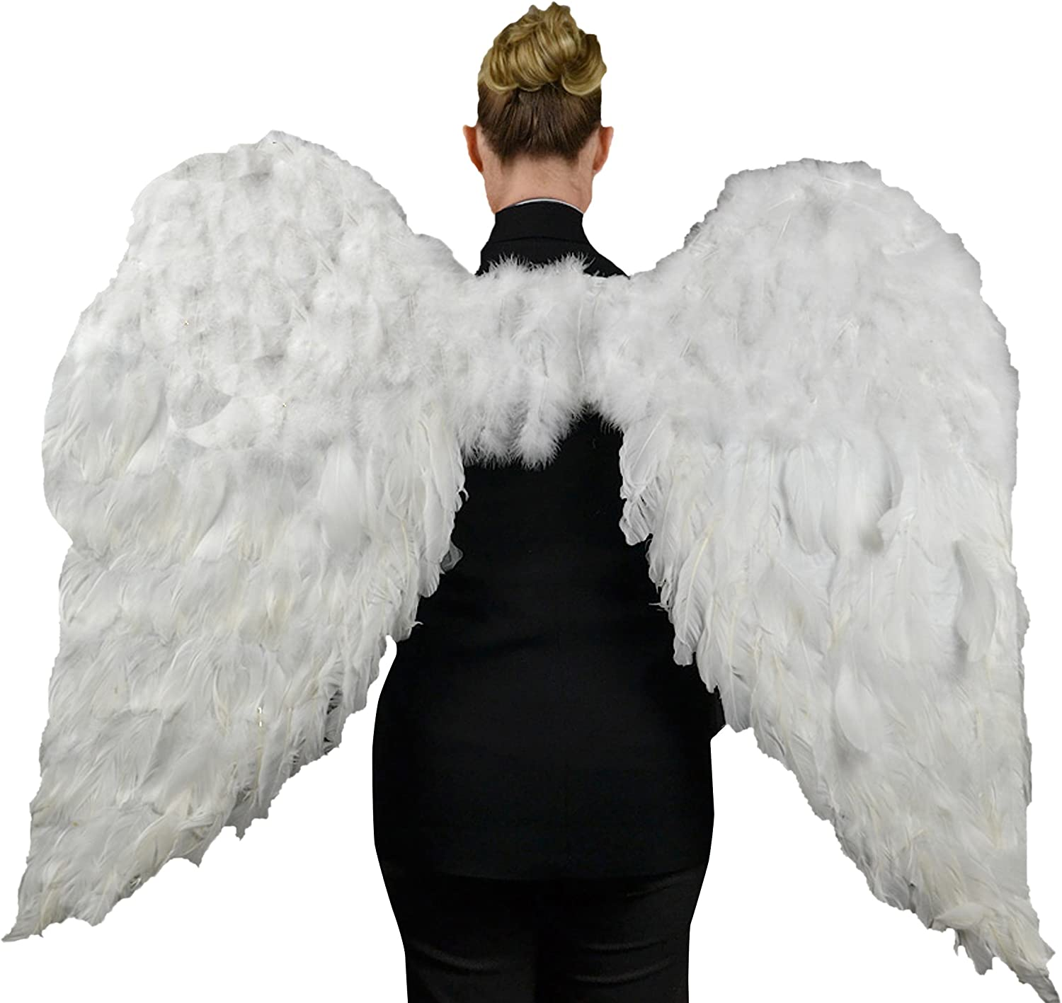 "Touch of Nature White Adult Angel Wings - 52"" by 36"" - Halo Included - White Feather Wing - Costume Wings - Large Angel Wings"