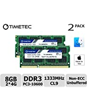 Timetec Hynix IC compatible with Apple 8GB Kit (2x4GB) DDR3 1333MHz PC3-10600 SODIMM Memory Upgrade For selected MacBook Pro/iMac/Mac Mini.