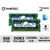 Timetec Hynix IC Apple DDR3 1333MHz PC3-10600 Non-ECC 1.5V CL9 2Rx8 Dual Rank 204 Pin SODIMM Laptop Notebook Computer Memory Ram Module Upgrade High Density 8GB Kit (2x4GB)