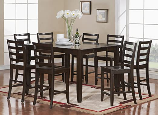 Amazon Com 7 Pc Counter Height Set Square Table Plus 6 Kitchen Counter Chairs Table Chair Sets