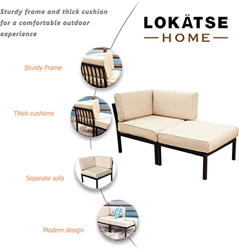 LOKATSE HOME 2 Piece Patio Sectional Furniture Set Outdoor Armchair Corner Sofa