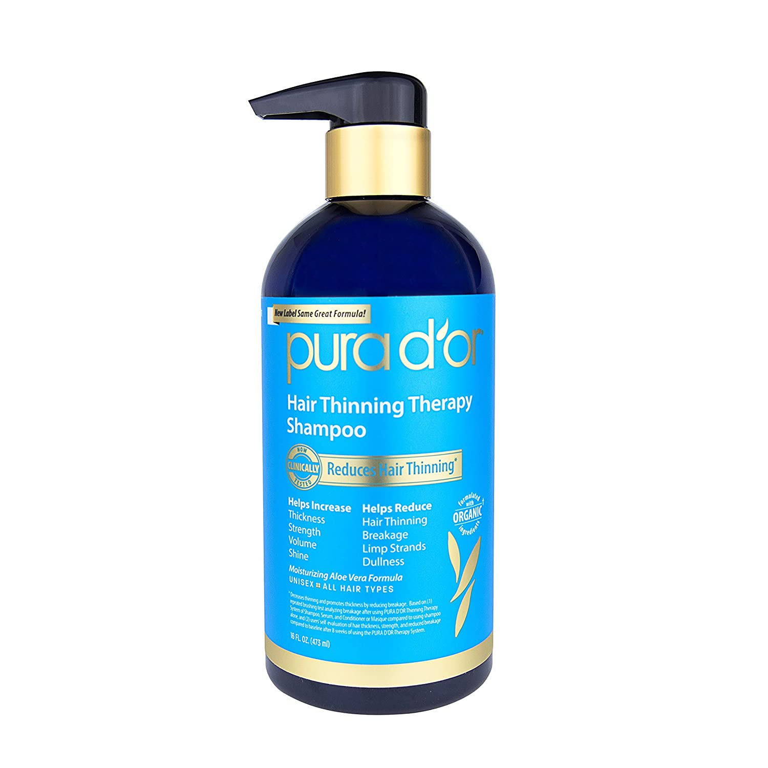 PURA D'OR Hair Thinning Therapy Shampoo, Infused with Organic Argan Oil, Biotin & Natural Ingredients, 16 Fl Oz (Packaging may vary) pura d'or 661799746915