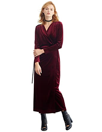 459234afa Image Unavailable. Image not available for. Color: Simple Retro Women's  Velvet Wrap Dress Long Sleeve ...