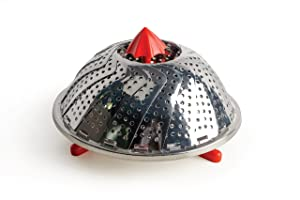 RSVP Endurance Stainless Steel Vegetable Steamer with Red Silicone Feet, 12-inch