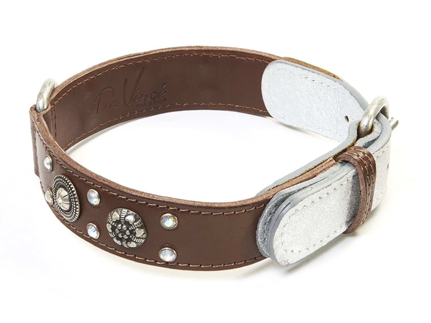 Brown 60 cm Brown 60 cm Da Vinci Ginevra Leather Dog Collar with Studs and Rhinestones, 60 cm, Brown