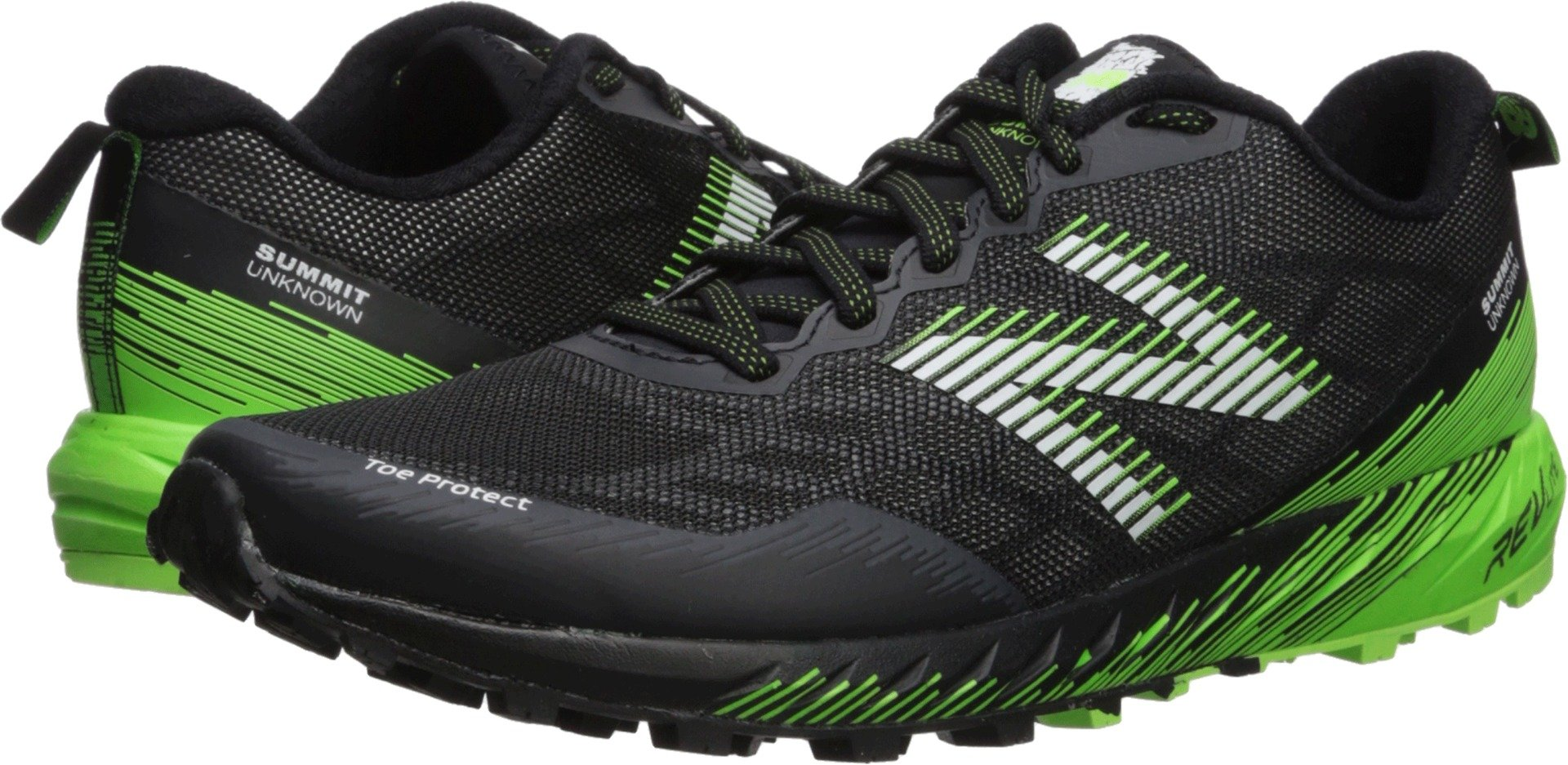 New Balance Men's Summit Unknown Trail Running Shoe, Black/Lime, 7.5 2E US