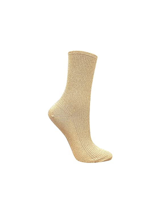 08682afb0 5 Women s shimmer socks bundle of premium fashion casual and dress socks in  gold