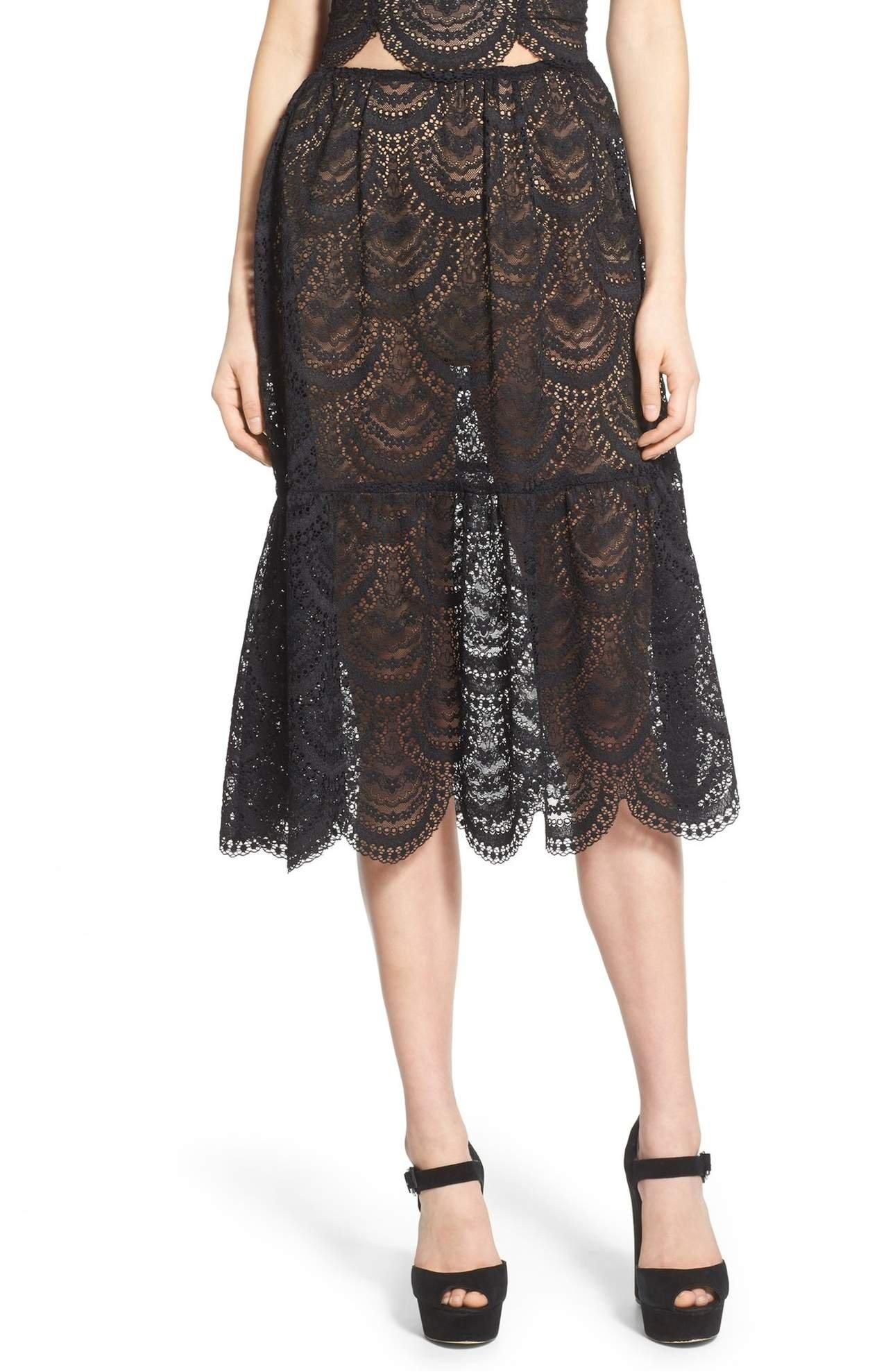 For Love & Lemons Women's Black Scalloped Lace Midi Skirt, Black, Medium