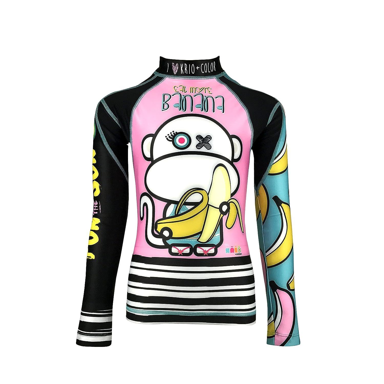KRIO +COLOR Scimia Banana Girl Zipper Long Sleeve UPF 50+ Rash Guard Swimsuit
