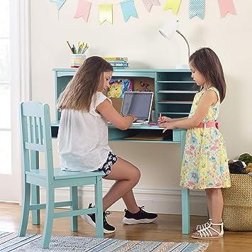 Guidecraft Children\'s Media Desk and Chair Set Teal: Student Study Computer  Workstation, Wooden Kids Bedroom Furniture
