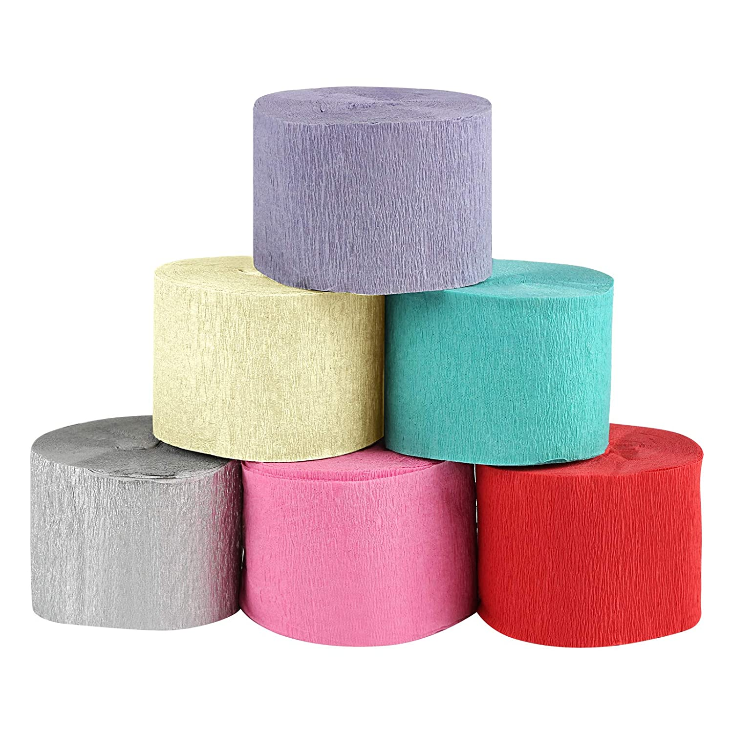 Naler 6 Rolls Crepe Paper Tissue Paper, 6 Colours Tissue Wrapped Paper for Art Craft Projects Decoration, 10M / Roll