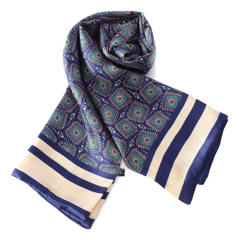 Long Charmeuse Satin Silk Scarf for Men (Blue Squares)