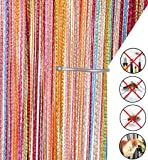 Liqy Retro PlainTassel Door Curtain Fly Insect Bug Screen String For Doorways Divider or Window Curtain Panel 90x200cm , Fly Screen Panel