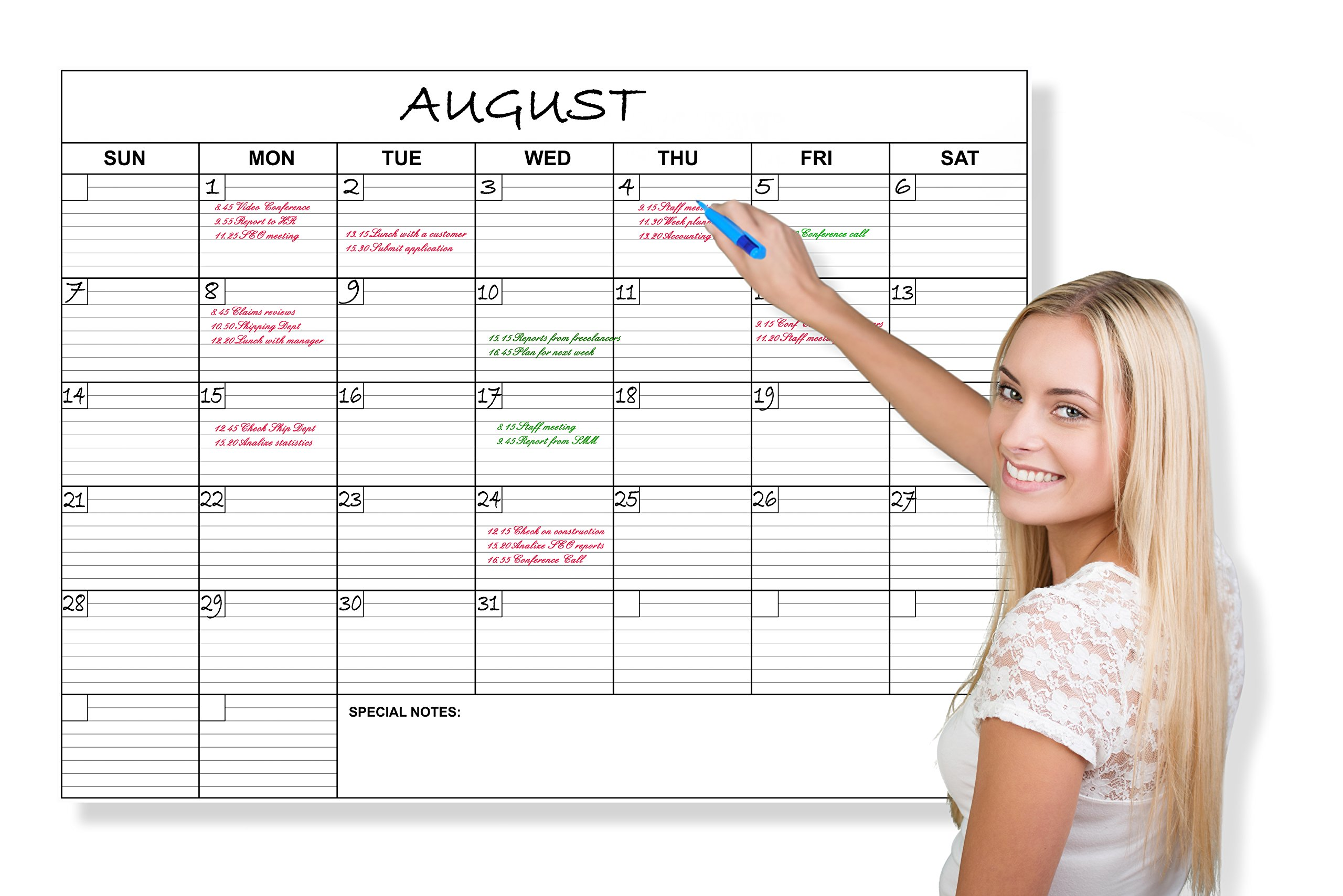Jumbo Wall Calendar Laminated 36 X 48in Blank Month Planner for Home Office School Dry Erase Erasable