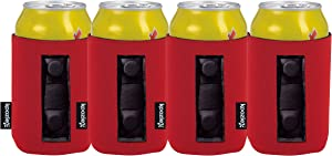 KOOZIE Magnetic Can Cooler Neoprene Insulated 4 Pack 12 oz Beverage Holder for Metal Surfaces | Use on Trucks, Golf Carts, Tractor, Lawnmowers, Boats | Great for Tailgating, BBQs, Camping | Red