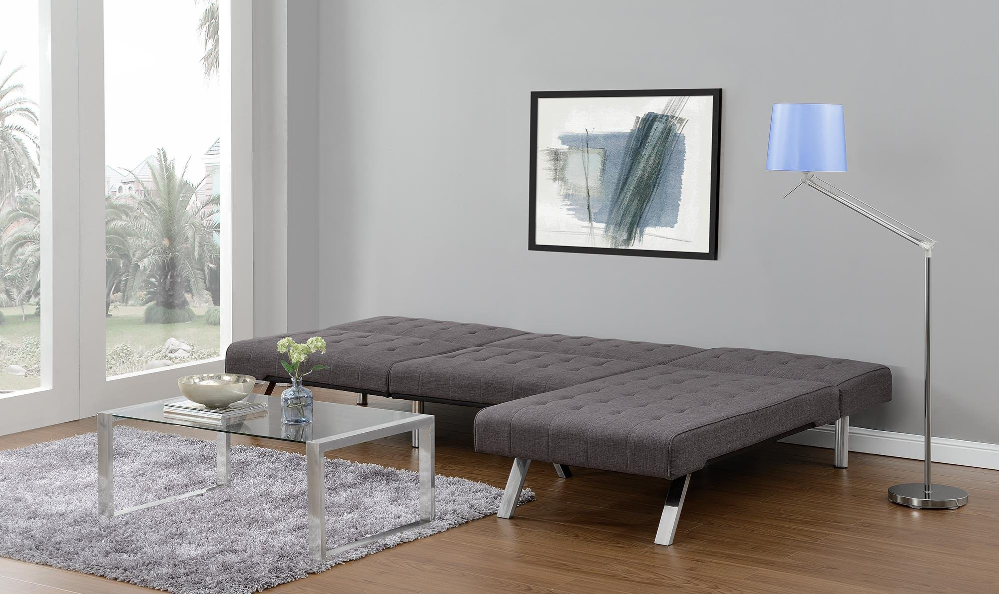 DHP Emily Linen Chaise Lounger, Stylish Design with Chrome Legs, Grey by DHP (Image #8)