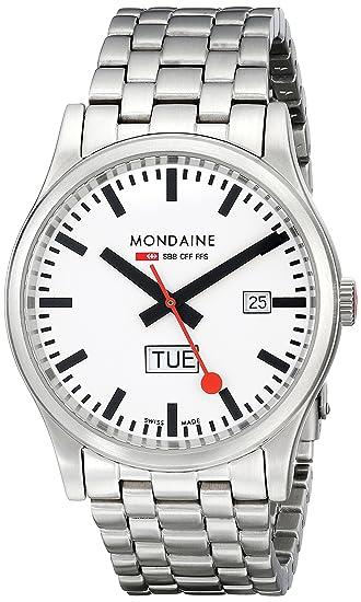 Mondaine SBB Sport Day Date 41mm A667.30308.16SBM Reloj de pulsera Cuarzo Hombre correa de Acero inoxidable Plateado: Amazon.es: Relojes