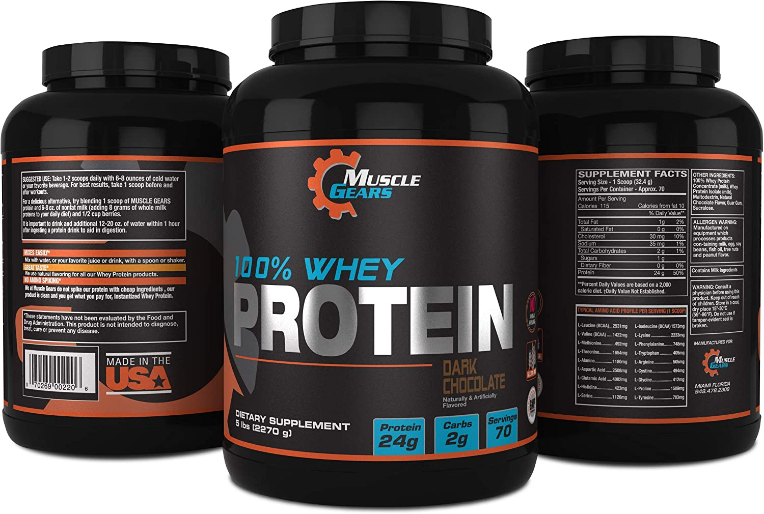 Muscle Gears 100 Whey Protein 5lb, Dark Chocolate