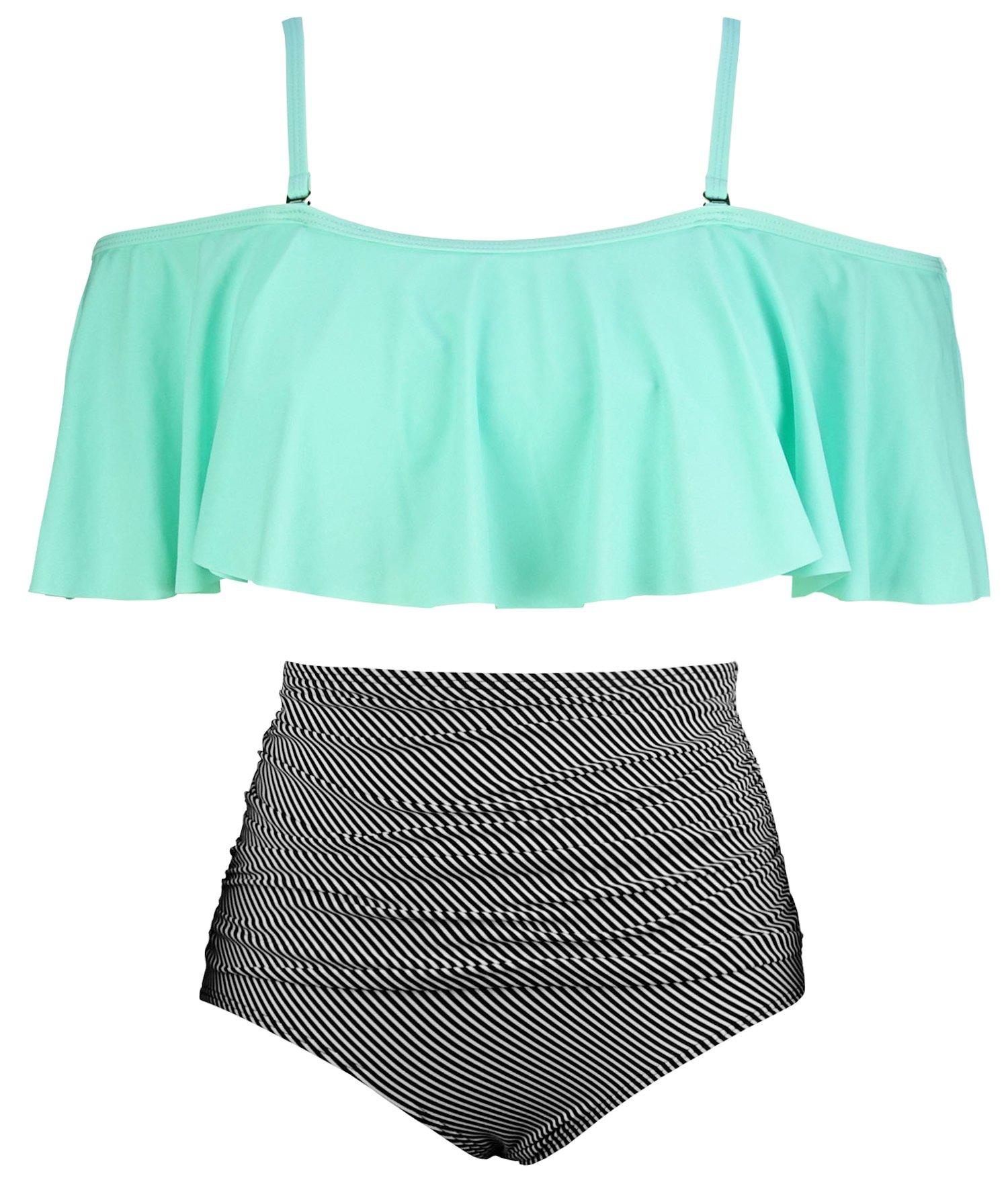 COCOSHIP Pale Green & Black Striated Vintage Ruched Bikini Set Flounce Falbala Top Tiered Ruched High Waist Swimsuit Swimwear 14