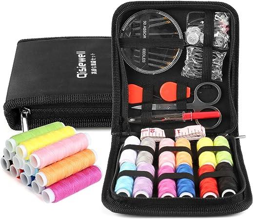 Qisiewell Mini Kit de Costura con 73 Piezas Accesorios con 12 rollos de hilo en estuche compacto de Oxford Costura Kit de Accesorios para el viajes y principiantes y emergencias: Amazon.es: Hogar