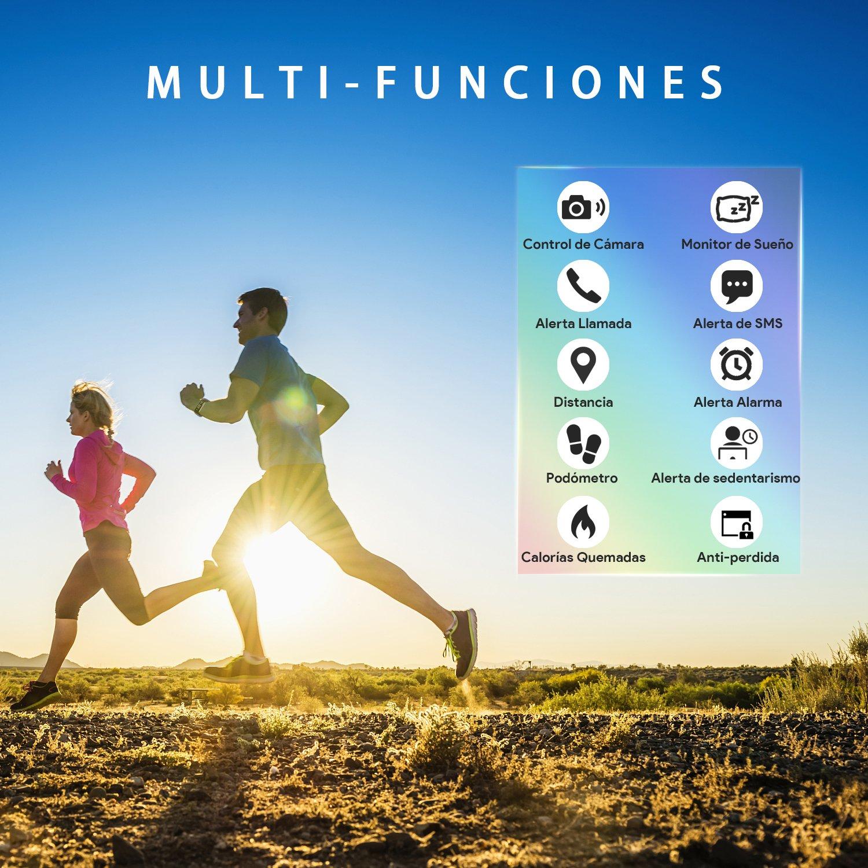 AIMIUVEI Pulsera Actividad Pulsera Inteligente Impermeable con 3 Correas Recambias, Reloj Inteligente Mujer y ...