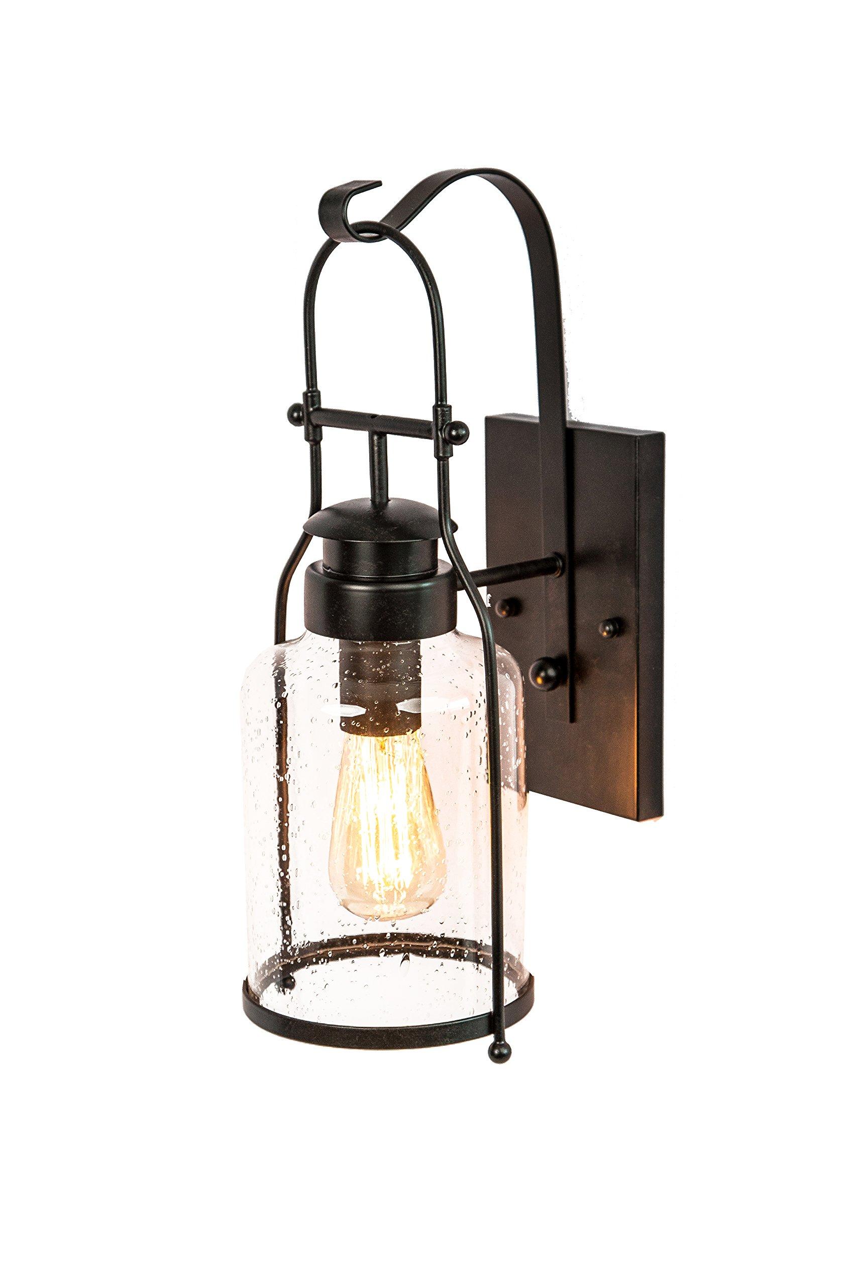 Rustic Wall Light Lantern with Retro Industrial loft Lantern Look in Rubbed Bronze Powder Coat Finish with Milk Pioneer jug Glass