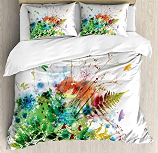 Twin Size Duvet Cover 4 Pcs Set Watercolor Floral Jungle Foliage Summer Design Butterfly Dragonfly Herbs Fresh Leafage Ultra Soft Durable Zipper Closure Bedding Sets Childrens/Kids/Teens/Adults