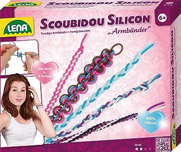 Lena 42695   Bastelset Scoubidou Silicon Armbänder, Mit Ca. 28 M 100%  Silikon