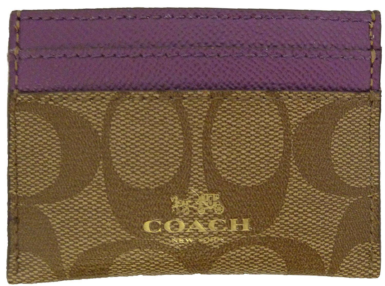 Coach Signature PVC Card Case Khaki Plum F63279IMERL