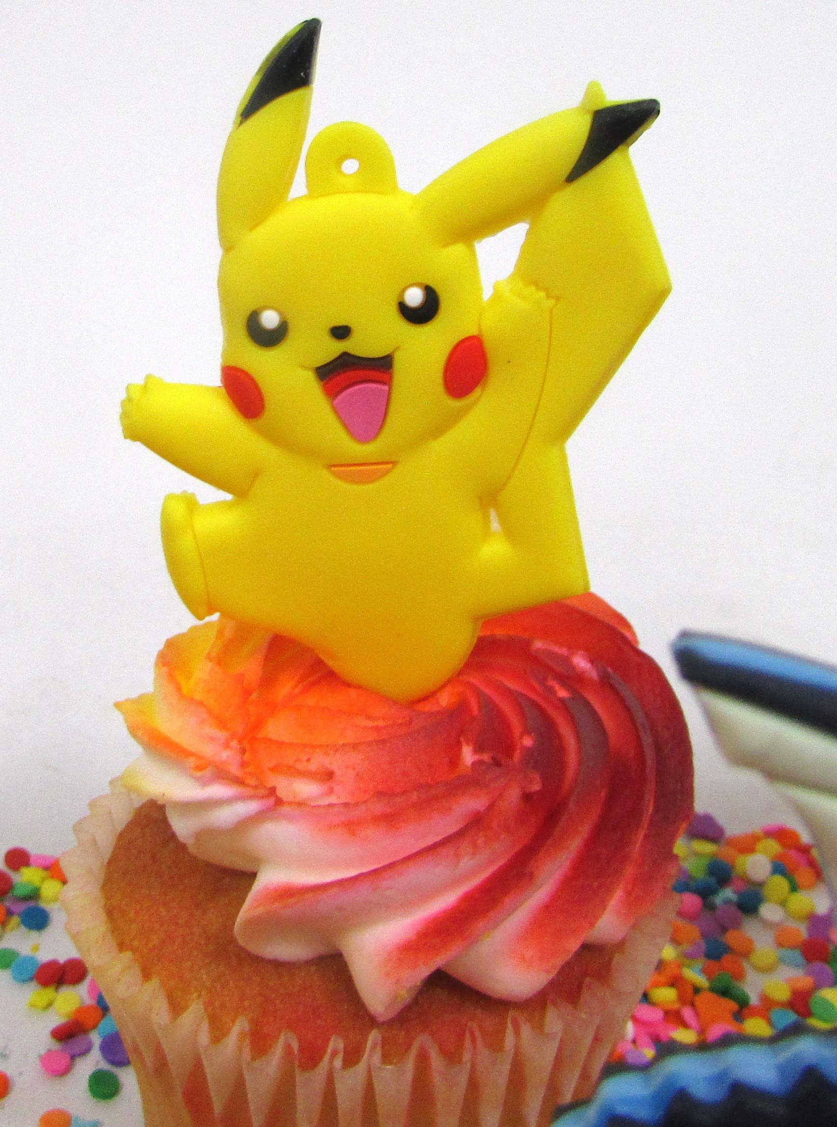 Pikachu and Friends Cupcake Topper Set with 6 Random Pocketmonster Characters and 6 Poke Balls by Cupcake Topper (Image #1)