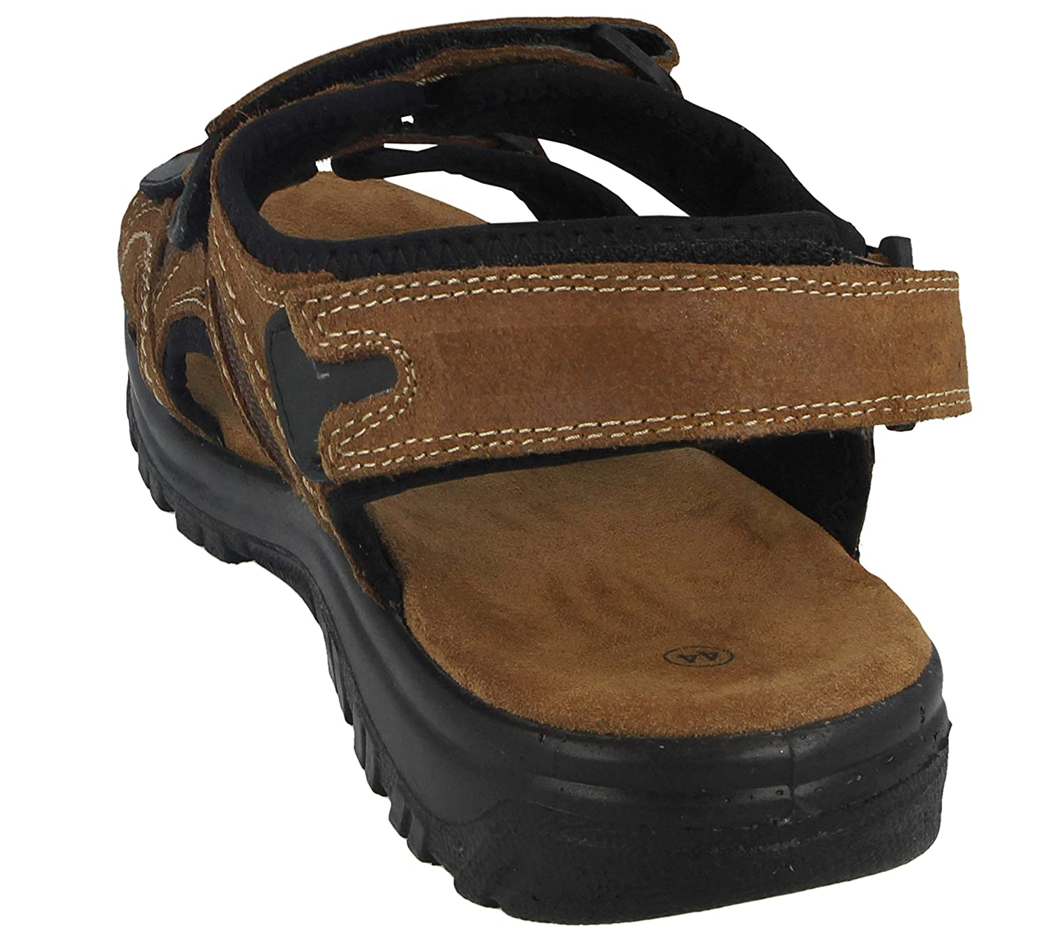Yinka Shoes Mens Real Leather Brown Adjustable Touch Close Triple Straps Comfort Sports Leisure Summer Sandals Size 6-12