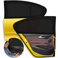 Car Window Sun Shade 2 Packs,【2020 Upgrade Version】 Breathable Elastic Mesh Car Rear Side Window Shade-Universal Fit for…