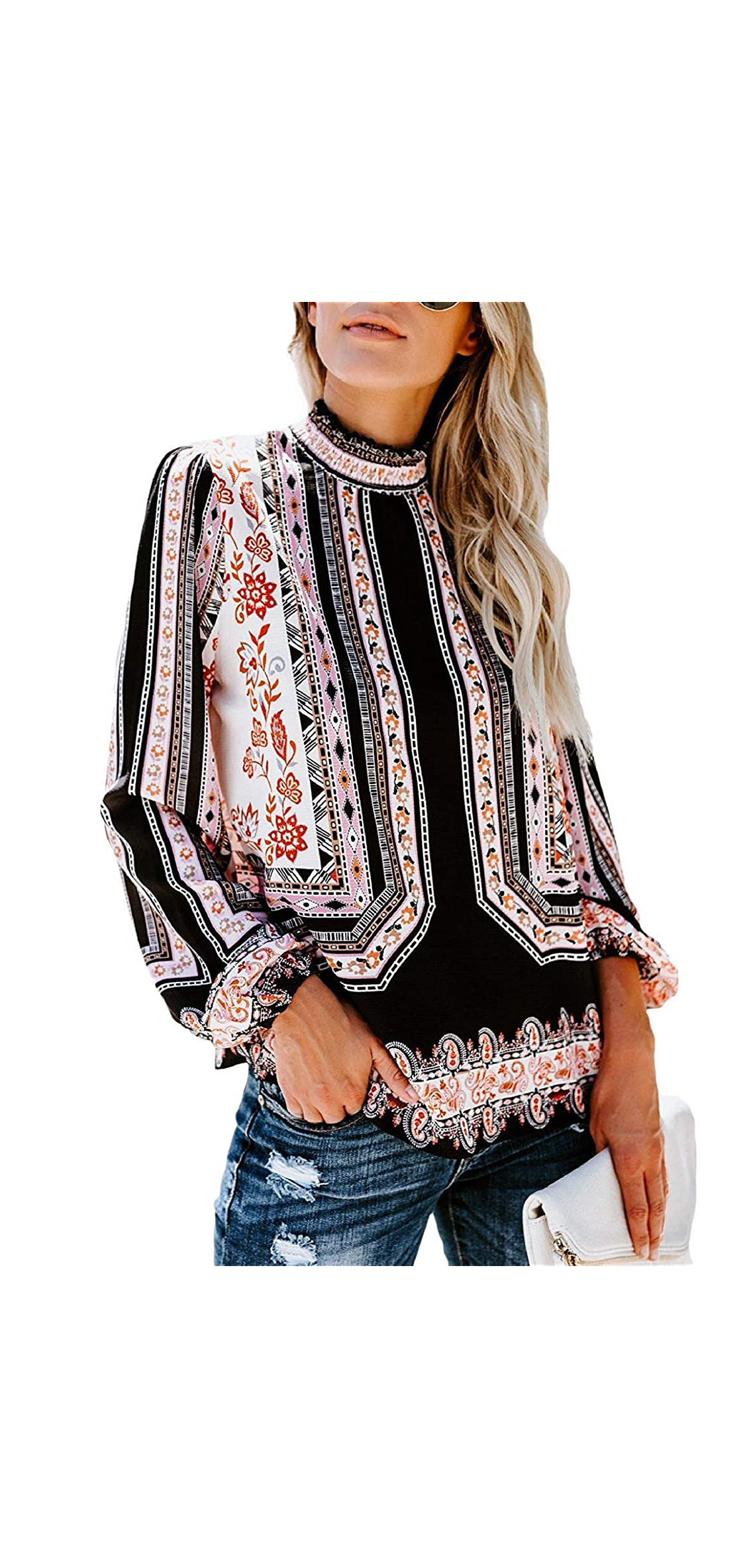 Long Sleeve Chiffon Blouse Women's Loose Cuffed Sleeve Layered