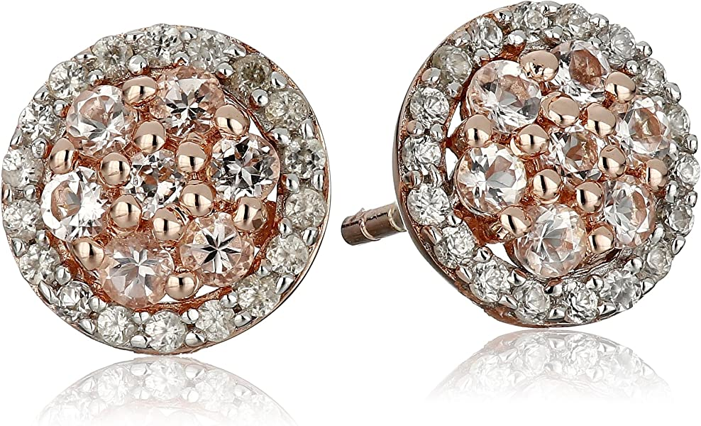 3db7561c1 Amazon.com: Rose Gold-Plated Silver Morganite and Natural White Zircon Pave Stud  Earrings: Jewelry